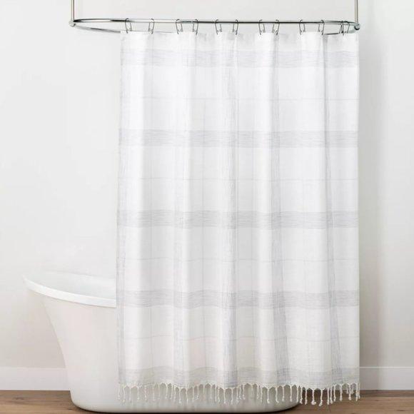 Hearth & Hand String Plaid Shower Curtain Tassel
